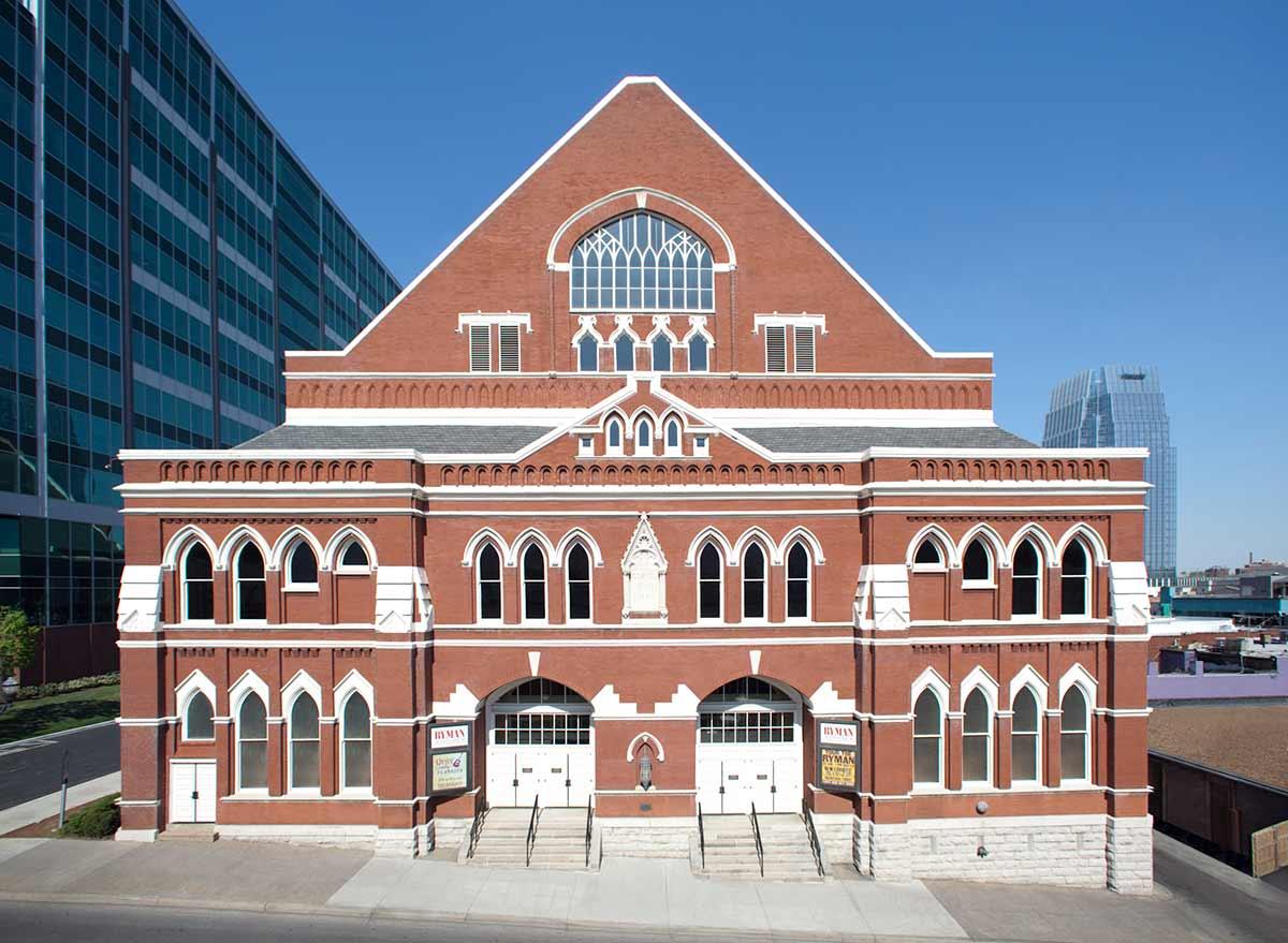 Ryman Auditorium exterior 2021 Nashville Travel Planning